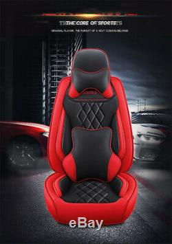 Red-Black PU Leather Car Seat Covers Cushion Full Set Deluxe Edition For 5-Seats