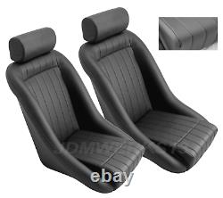 Retro Classic Vintage Racing Bucket Seats Black Perforated With Sliders (pair)