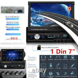 Single 1Din 7 Android GPS Flip Car Stereo Radio MP5 Player Touch Screen USB Kit