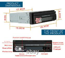 Single 1Din Flip Car Stereo Radio 7in HD Touch Screen FM Bluetooth MP5 Player