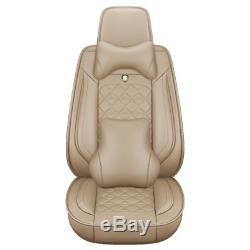 Top PU Leather Car Seat Cover Set Universal Protector Luxury Front+Rear Cushion