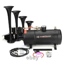 Train Horn Kit For Truck Car Pickup Loud System 1G Air Tank 180psi 4 Trumpets US
