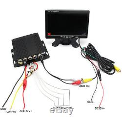 Truck Lorry Bus DVR Video Recorder 7 Monitor Side Rear Front View Camera System