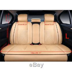 US 5-Seat SUV Car Auto PU Leather Seat Covers Front+Rear Cushion WithPillows Beige