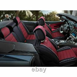 US Car Seat Covers 5-Seat Full Set PU Leather All Weather Universal Black&Blue