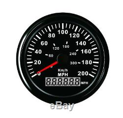 Universal 3-3/8 GPS 200MPH 300KM/H Speedometer Gauge Red LED Backlight For Car