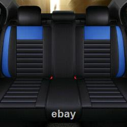 Universal Black PU Leather Seat Covers 5-Seats Front+Rear Cushion Accessories US