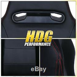 Universal Black Type-R Racing Bucket Seat With Red Stitching Fully Reclinable Pair