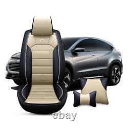 Universal Luxury 5-Sit Car Seat Cover Cushions PU Leather Front & Rear Full Set