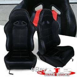 Universal Reclining Pvc Leather Racing Seats Pair Black Stitch Carbon Fiber Look