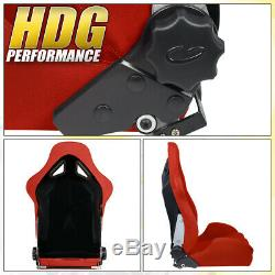 Universal Red Cloth Full Reclinable Racing Bucket Seats Pair With Sliders