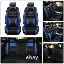 Universal Top PU leather Car Seat Covers 5-Seat Set Full Accessories Interior US